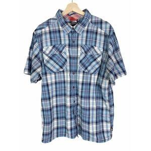 North Face Mens XL Plaid Button Down Short Sleeve Shirt Blue